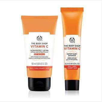 THE BODY SHOP เซ็ต VITAMIN C GLOW-PROTECT LOTION SPF 30 PA+++ -ขนาด 50 ml และ VITAMIN C INSTANT GLOW ENHANCER ขนาด 25 ml