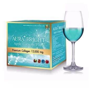 Aura Bright Apple Collagen Plus ออร่าไบรท์ แอปเปิ้ลคอลลาเจน เพื่อผิวเนียนใส 12,000mg. (10ซอง/1 กล่อง)