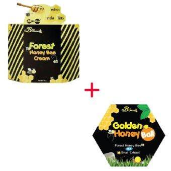 B'Secret Forest Honey Bee Cream ครีมน้ำผึ้งป่า บรรจุ 15 กรัม (1 กล่อง) + B'Secret Golden Honey Ball มาส์กลูกผึ้ง บี ซีเคร็ท กลิ้งแล้วหนืด ยืดแล้วมาส์ก เพื่อผิวสะอาดเนียนใส ชุ่มชื้น (1 กล่อง)