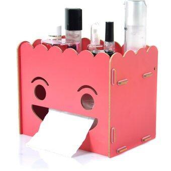 DIY Wooden Cosmetic Box (WD05 สีแดง) กล่องเก็บเครื่องสำอาง เครื่องประดับ