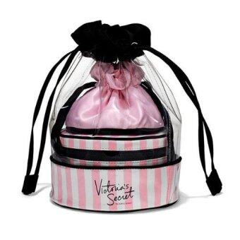 Harga Victoria's Secret Travel Beauty Stripe Trio Iconic Pink White Jewerly Gift Bag