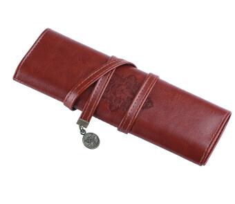 Leegoal สนธยาเรโทรปากกาดินสอกระเป๋าผ้าหนัง Pu แต่งหน้าเคสกระเป๋า (น้ำตาลเข้ม)
