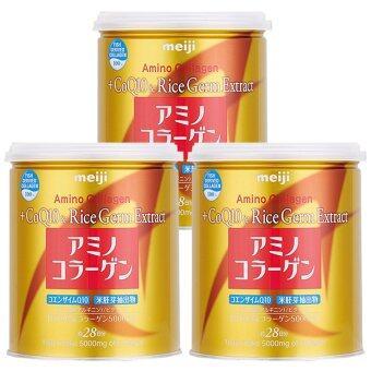 Meiji Amino Collagen CoQ10 & Rice Germ Extract คอลลาเจนผงจากญี่ปุ่น 5000 มก. + โคคิวเท็นและสารสกัดจากจมูกข้าว 200g. (3กระป๋อง)