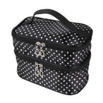 โอ๊ยแขวนกระเป๋าซิปกระเป๋าเครื่องสำอางแต่งหน้าจุดท่องเที่ยวแชมพูออแกไนเซอร์กระเป๋าถือสีดำ