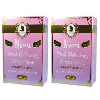 YINGYING MN Neon Sweet Whitening Cream Soap สบู่นีออน สวีท ไวท์เทนนิ่ง ครีม โซป 3 in 1 ขาวออร่า ขนาด 100 กรัม (2 ก้อน)