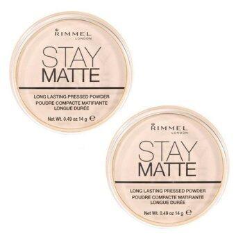 Rimmel Stay Matte Long Lasting Pressed Powder #001 Transparent (แพคคู่2ตลับ)