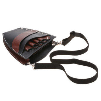 Azone ซองกรรไกรตัดผมหนัง Pu แต่งผมกระเป๋าถือกระเป๋าหนีบกระเป๋าตอกหมุด (สีน้ำตาล)