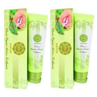 AIMTHAI Classic Organic Herbal Toothpaste เอมไทย ยาสีฟันสุนไพรออร์แกนิค สูตรคลาสสิค เพิ่มเสน่ห์ฟันขาวและสุขภาพดี (100g.x2หลอด)