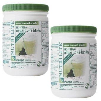 Amway Nutrilite นิวทริไลท์ กรีนที นิวทริ-โปรตีน 450กรัม รสชาเขียว แพ็คคู่