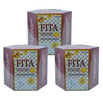 FITA White Aura Sunscreen Cream ไฟต้า ครีมกันแดดไวท์ออร่า เนื้อมูส บางเบา ป้องกันรังสี UVA/UVB SPF60PA+++ ขนาด 20g. (3 กระปุก)
