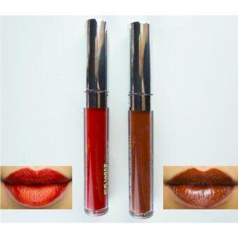 AKI Matte Liquid Lipstick ลิปสติกเนื้อแมท แพ็ค 2 แท่ง 2 สี เม็ดสีชัด ทาง่าย ไม่ตกร่อง # 10
