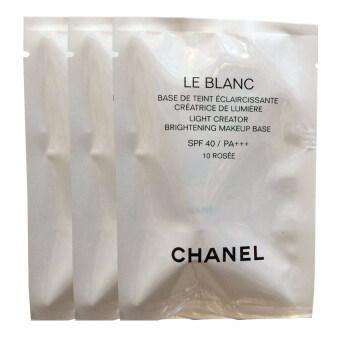 Chanel Le Blanc Light Creator Brightening Makeup Base SPF40 เพื่อให้ผิวหน้ามีความสว่างและเรียบเนียนสมบูรณ์แบบ PA+++ # 10 Rosee ขนาดทดลอง 2.5ml. (3 หลอด)