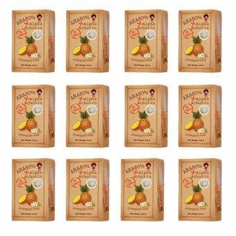 AHA 80% Alpha Arbutin Pineapple Soap Skin สบู่ระเบิดความขาว สูตรสับปะรด 100 กรัม by Sabu Moriarty House (12ก้อน)
