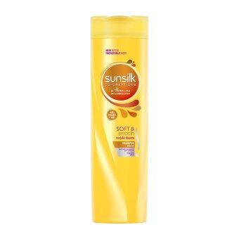 SUNSILK ซันซิล แชมพูสีเหลือง สูตรผมนุ่มลื่น เรียบสวย 320 มล.