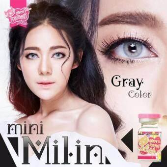 คอนแทคเลนส์ตาฝรั่ง รุ่น Mini Milin Gray ลายฮิต (สีน้ำตาล) ค่าสายตา 0.00 พร้อมตลับใส่