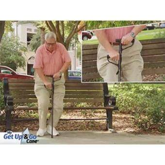 ไม้เท้าผู้สูงอายุพับได้ชนิดมือจับ2 อันในด้ามเดียว เพิ่มความปลอดภัยในขณะลุกขึ้นยืน (สีดำ) GET UP AND GO CANE