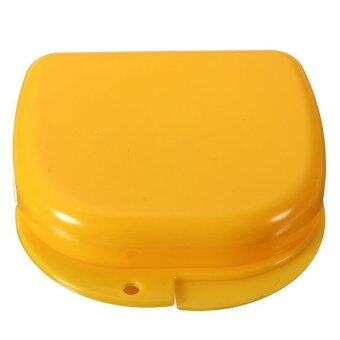 Harga Dental Health Dentures Orthodontic Retainer mouthguards Storage Box Case (Yellow)