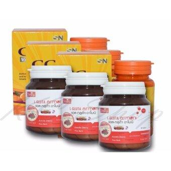 Shining L-Gluta Armoni แอล-กลูต้า อาโมนิ 30 เม็ด + CC Nano Vitamin C & Zinc 1000 Complex 30 เม็ด 3 ชุด