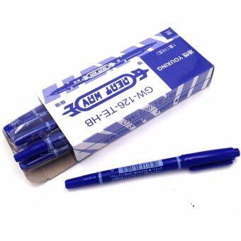 ปากกาเขียนลายสักสีน้ำเงินแพ็ค10ชิ้น ปากกาวาดลายสัก ปากการ่างลายเส้นก่อนสัก ปากกามาร์คเกอร์คุณภาพสูง สีติดผิวแน่น Tattoo Pen / Skin Marker / Marking Scribe Pen (Blue - 10PCS)