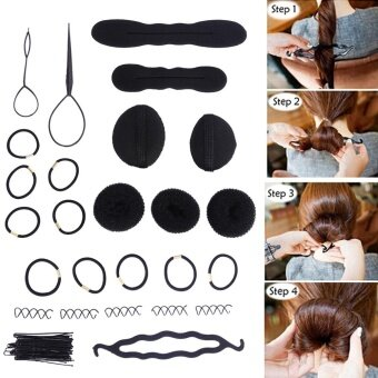 Harga 65Pcs Magic Hair Twist Styling Set Hairpins Bun Maker Braid Tools Kit - intl