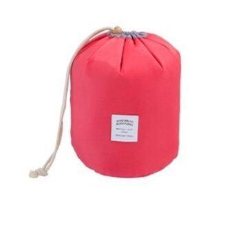 Smartshopping กระเป๋าเก็บเครื่องสำอางค์ แบบพกพา ทรงกลม (สีชมพูเข้ม)