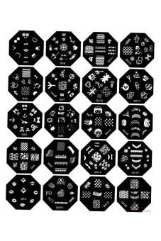 Bluelans เล็บเล็บเล็บแม่แบบพิมพ์ภาพแสตมป์ชุดจานเช็ดแม่พิมพ์จานเสียง