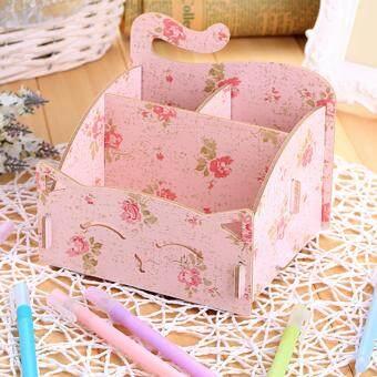 DIY Wooden Cosmetic Box (WD02 สีลายดอกไม้) กล่องเก็บเครื่องสำอาง เครื่องประดับ