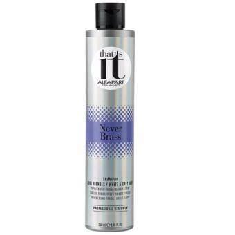 Alfaparf Never Brass shampoo for white and grey hair แชมพูน้ำสีม่วถงสำหรับผมสีเทา หรือสีบลอนด์เทาหม่น ขนาด 250ml