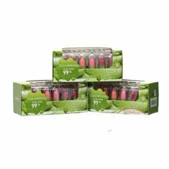 Aloe vera 99% lipstick soothing Matte Set mini 3 กล่อง 12 สี