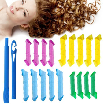 Harga Moonar DIY Hairdressing Tool Hair Rollers Snail Roll Styling Curler Tool 18Pcs/set (9pcs large
