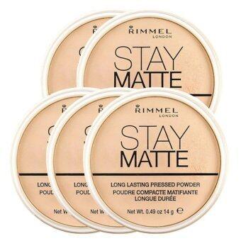 Rimmel Stay Matte Pressed Powder แป้งฝุ่นอัดแข็งเนื้อบางเบา #001Transparent 14g (5 ตลับ)