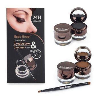Music Flower Eyebrow & Eyeliner มิวสิคฟลาวเวอร์ แพคสุดคุ้ม เจลเขียนคิ้วและเจลเขียนขอบตาในกล่องเดียว คิ้ว ตาสวยยาวนาน 24 ช.ม. (1 กล่อง)