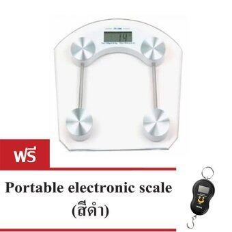 iBettalet เครื่องชั่งน้ำหนักดิจิตอล กระจกใสสี่เหลี่ยม รุ่น QF-2003B (White) แถมฟรี portable electric scale Black
