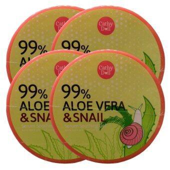 Cathy Doll Aloe vera & snail serum soothing gel ช่วยปลอบประโลมผิวกร้าน ขาดการบำรุงให้กลับมาสดใสมีชีวิตชีวา 300g (4 กระปุก)