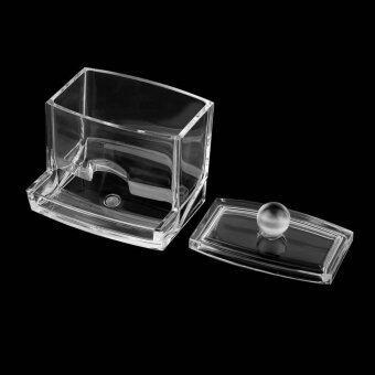 กล่องแก้วใสใส่สำลีก้าน อุปกรณ์ใช้ในบ้าน Cotton Swab Holder