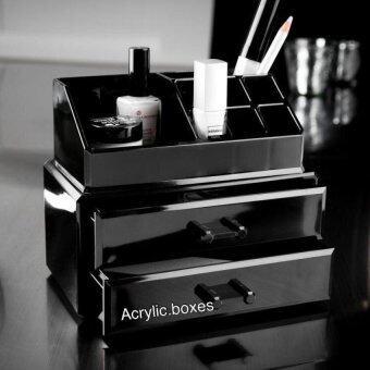 Asia กล่องอะคริลิคใส่เครื่องสำอางค์ 2 ชั้น สีดำ Black Collection