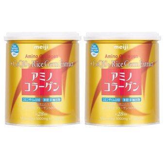 Meiji Amino Collagen + CoQ10 & Rice Germ Extract คอลลาเจนผงจากญี่ปุ่น 5000 มก. + โคคิวเท็นและสารสกัดจากจมูกข้าว 200g (2 กระป๋อง)