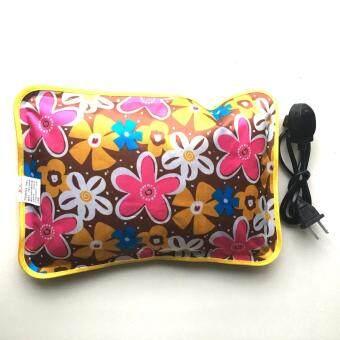 กระเป๋าน้ำร้อนไฟฟ้า สีน้ำตาลเงา ลายดอกไม้ แบบPVC ให้ความร้อนสูง_Model16
