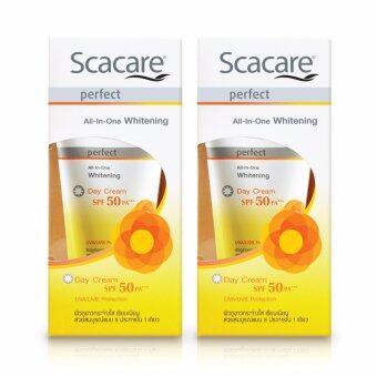 Scacare Perfect All-in-One whitening Day Cream SPF50 PA+++ 30 g. สกาแคร์ เพอร์เฟ็คท์ ออล-อิน-วัน ไวท์เทนนิ่ง เดย์ ครีม เอสพีเอฟ 50 พีเอ+++ ขนาด 30 กรัม แพ๊คคู่