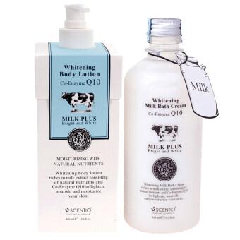 SCENTIO Milk Plus Bright & White Shower Cream and Body Lotion ครีมอาบน้ำนม + โลชั่นน้ำนม