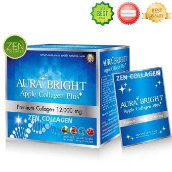 Aura Bright Apple Collagen Plus Premium Collagen 12,000 mg. ออร่า ไบรท์ แอปเปิ้ล คอลลาเจน พลัส อาหารเสริมบำรุงผิว ขาว เนียน ใส ออร่า หน้าเด็ก เซ็ต 1 กล่อง (10 ซอง / กล่อง)