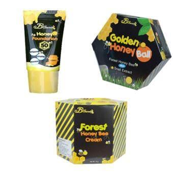 B'Secret Forest Honey Bee Cream ครีมน้ำผึ้งป่า บรรจุ 15 กรัม (1 กล่อง) +B'Secret Golden Honey Ball มาส์กลูกผึ้ง บี ซีเคร็ท กลิ้งแล้วหนืด ยืดแล้วมาส์ก เพื่อผิวสะอาดเนียนใส ชุ่มชื้น (1 กล่อง) + B'Secret Honey Foundation SPF50 PA++ (1 กล่อง)