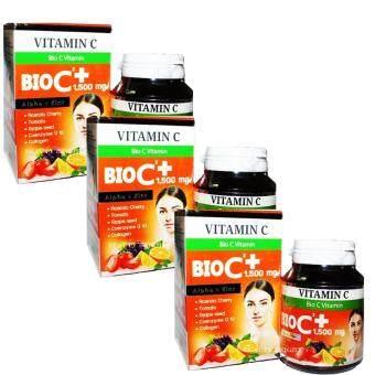 BIO C Vitamin Alpha+Zincไบโอซี วิตามิน ซี+ซิงค์1,500 mg.(บรรจุ 30 เม็ด x 3 กล่อง)