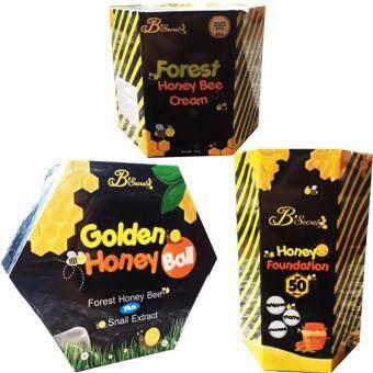 B'Secret Forest Honey Bee Cream ครีมน้ำผึ้งป่า บรรจุ 15 กรัม (1 กล่อง) +B'Secret Golden Honey Ball มาส์กลูกผึ้ง บี ซีเคร็ท กลิ้งแล้วหนืด ยืดแล้วมาส์ก เพื่อผิวสะอาดเนียนใส ชุ่มชื้น (1 กล่อง) + B'Secret Honey Foundation SPF50 PA++