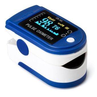 อ้อความดันออกซิเจนปลายนิ้วไปจับหน้าจอมาตรวัดออกซิเจน Oximeter สีน้ำเงิน