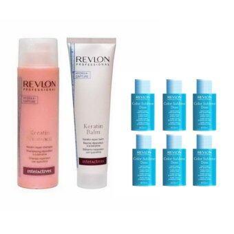 Revlon Keratin Shampoo with conditioner150ml แชมพูและครีมนวดเคราติน ช่วยบำรุงให้โครงสร้างผมมีความแข็งแรงเพิ่มความเงางาม พร้อมด้วย เซรุ่มช่วยเพิ่มความเงางามให้แก่เส้นผม 15ml x6 dose