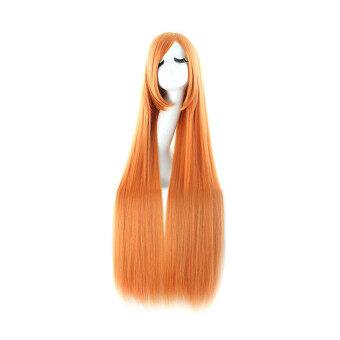 100ซมหญิงผมยาวตรงสลวยอย่างวิกกับชุดคอสเพลย์ผมม้าด้านส้ม