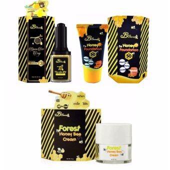 B'Secret Queen Bee Drop บีซีเคร็ท น้ำหยดนางพญา 30ml. (1 ขวด) + B'Secret Forest Honey Bee Cream บี ซีเคร็ท ครีมน้ำผึ้งป่า ขนาด 15 กรัม (1 กล่อง) + B'secret Honey Foundation W2M ครีมกันแดดน้ำผึ้งป่ากันแดดละลายได้ 20g. (1กล่อง)