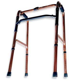 อุปกรณ์ช่วยเดิน 4 ขา Walker แบบพับได้ โยกได้ ปรับความสูงได้ (สีทอง)