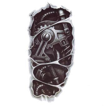 Jetting Buy 3Dแขนหุ่นยนต์กันน้ำสติ๊กเกอร์ชั่วคราวร่างกายสักรอยสักศิลปะถอดสีดำ